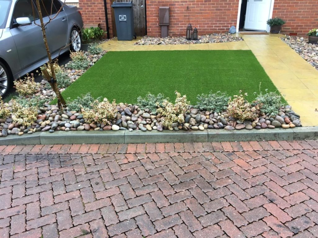 Example of artificial grass installed