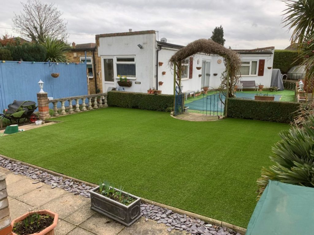 Previous example of artificial grass in garden